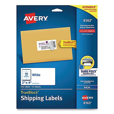 Avery Shipping Labels w/ TrueBlock & Sure Feed, Inkjet, 2 x 4, White, 250/Pack