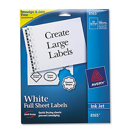 Avery Inkjet White Mailing Labels - 25/Pk