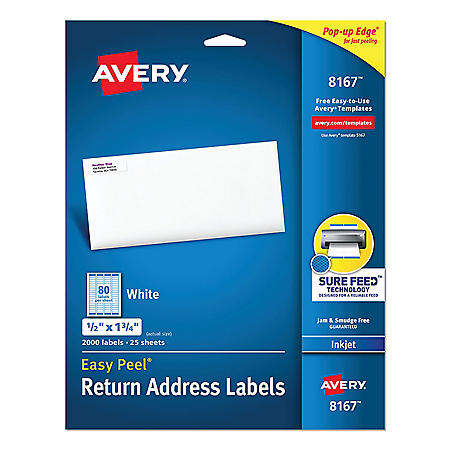 Avery Easy Peel Return Address Labels w/Sure Feed, Inkjet, 1/2 x 1 3/4, White, 2000/PK