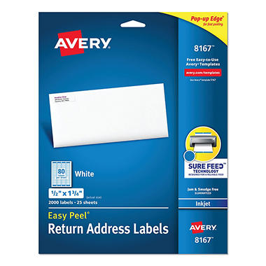 avery 8167 inkjet return address labels 1 2 x 1 3 4 white