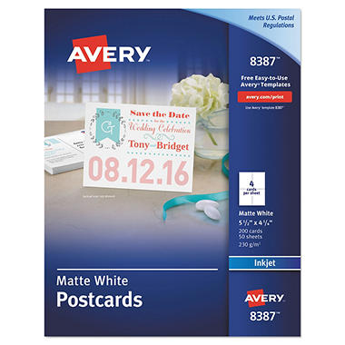 avery 8387 or 8383 postcards inkjet matte or glossy