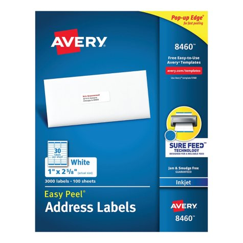 "Avery 8460 - Inkjet Address Labels, 1 x 2-5/8"", White - 3,000 Labels"