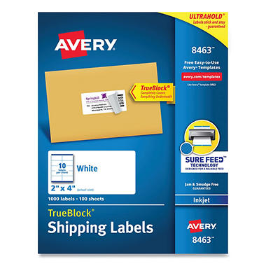 Avery 8463 - Inkjet Shipping Labels, 2 x 4