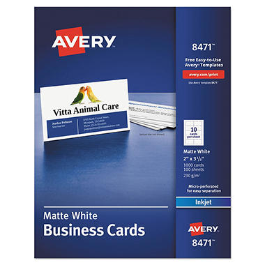 Avery 8471 Perforated Business Cards Inkjet White 1000 Cards