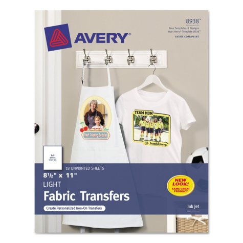 Avery 8938 - T-Shirt Transfers, Inkjet, Light Fabric - 18 Sheets