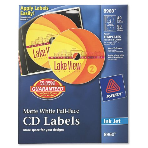 Avery - Inkjet Full-Face CD Labels, Matte White -  40/Pack
