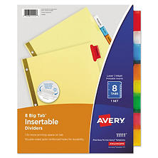 Avery WorkSaver Insertable Tab Index Dividers, Select Type (Letter, 8 Tab)