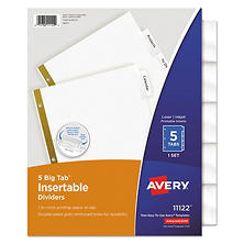 Avery - Big Tab Insertable White Dividers, 5 or 8 Tab, Clear - 1 Set