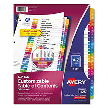 Avery 11125 - Ready Index Table of Contents Dividers - A to Z