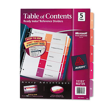Avery - Ready Index Contemporary Table of Contents Divider, 1-31, Multi, Letter