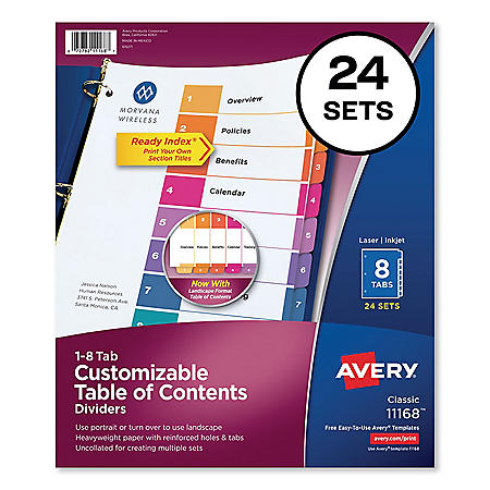 Avery Customizable TOC Ready Index Multicolor Dividers, 8-Tab, Letter, 24 Sets