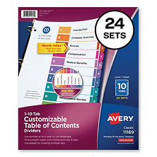 Avery Ready Index Table/Contents Dividers, 10-Tab, 1-10, Letter, Assorted, 24 Sets/Box