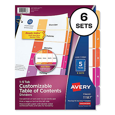Avery Customizable TOC Ready Index Multicolor Dividers, 15-Tab, Letter, 6 Sets