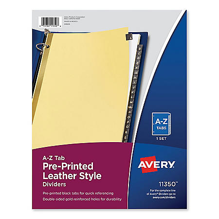 Avery Preprinted Black Leather Tab Dividers w/Gold Reinforced Edge, 25-Tab, Ltr