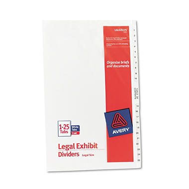 Avery - Legal Exhibit Dividers, 8-1/2 x 14