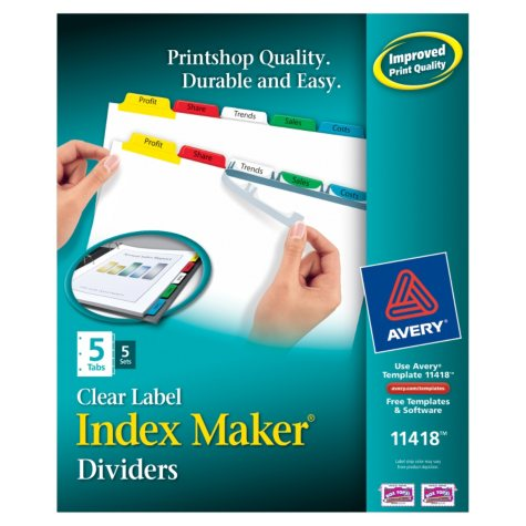 Avery - 11418 Index Maker Clear Label Divders, 5 Multicolor Tabs - 5 Sets