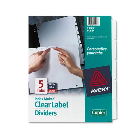 Avery - Index Maker Clear Label Divders for Copiers, Various Tabs - 5 Sets