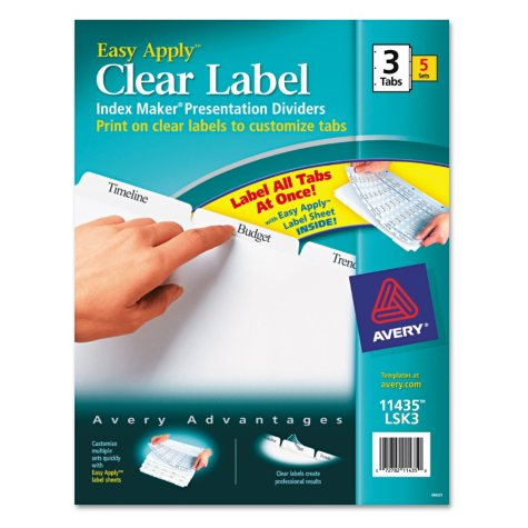 Avery® Clear Label Dividers for LSR & IJ Printers