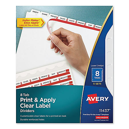 Avery Print and Apply Index Maker Clear Label Dividers, 8 White Tabs, Letter, 25 Sets