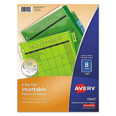 Avery Insertable Big Tab Plastic Dividers, 8-Tab, Letter