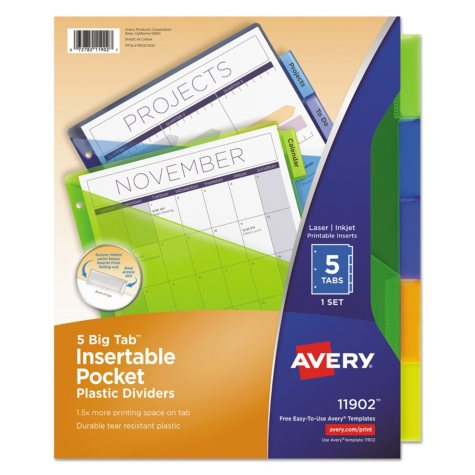 Avery Insertable Big Tab Plastic Dividers with Single Pockets, Legal, 5-Tab, 1 Set