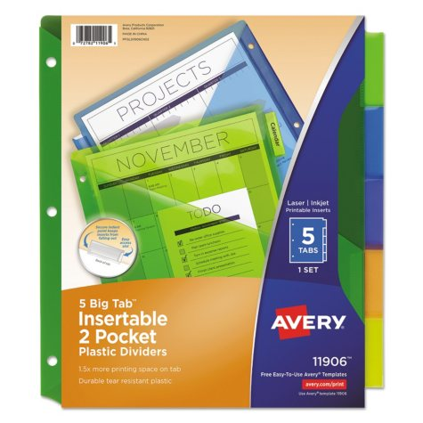 "Avery Insertable Big Tab Plastic Dividers with Double Pockets, 9"" x 11"", 5-Tab, 1 Set"