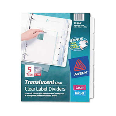 Avery Index Maker Translucent Label Dividers