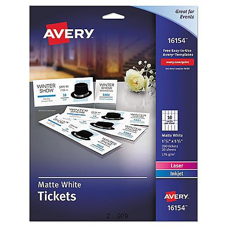 Avery - Printable Tickets w/Tear-Away Stubs, 1-3/4 x 5-1/2, Matte White -  200 Tickets/Pk