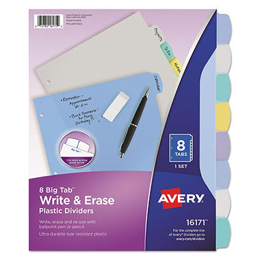 Avery Multi Color Write-On Dividers - Letter Sized