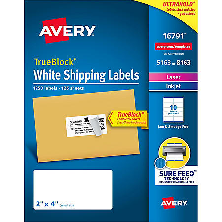 "Avery 5163/8163 TrueBlock Shipping Labels, 2 x 4""- 1250 Labels"