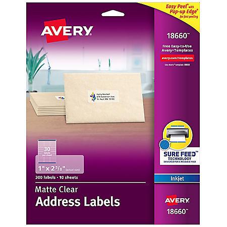 Avery Matte Clear Easy Peel Address Labels w/Sure Feed, Inkjet, 1 x 2 5/8, 300/Pack