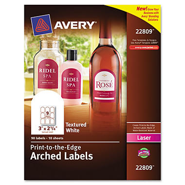 avery unique shapes and textured labels arch 3 x 2 1 2 white