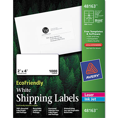 Eco-friendly Labels - 2 x 4 - White - 1000/pk.