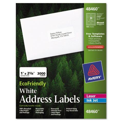 Eco-friendly Labels - 1 x 2 5/8 - White - 3000/pk.