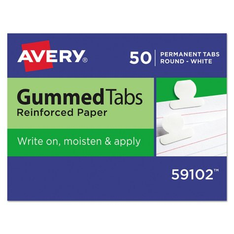 Avery Gummed Index Tabs, 5/8 in, White, 50 Pack