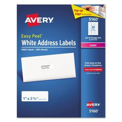 Avery 5160 Easy Peel Address Labels Laser 1 x 2 58 White 6000