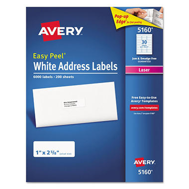 avery 5160 easy peel address labels laser 1 x 2 5 8 white 6 000