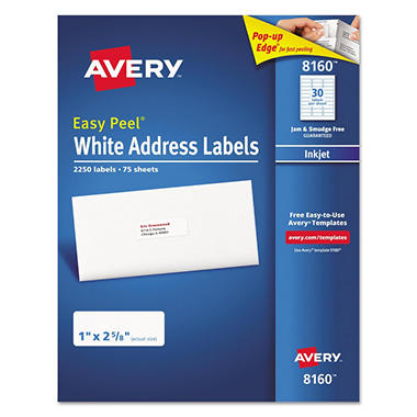 avery easy peel address labels inkjet white 2 250 ct sam s club
