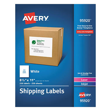 Avery shipping labels laser inkjet 8 5 x 11 white for Avery membership card template