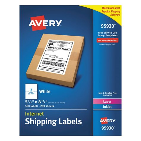 """Avery Shipping Labels, Laser, 5.5"""" x 8.5"""", White, 500 ct."""