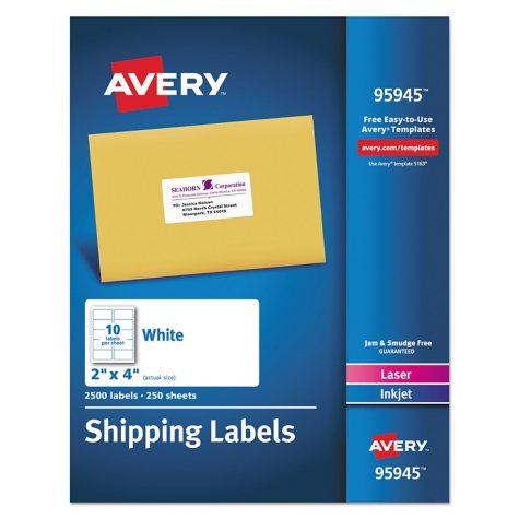 "Avery Shipping Labels, Laser/Inkjet, 2"" x 4"", White, 2500 ct."