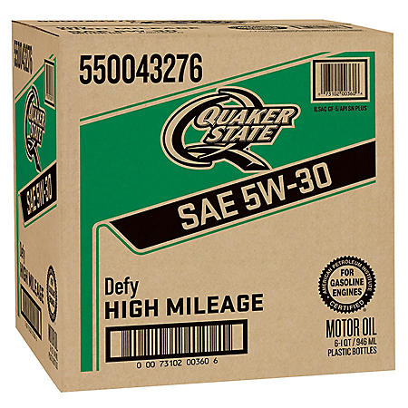 Quaker State High Mileage SAE 5W-30 Motor Oil (1 qt. bottles, 6 pk.)