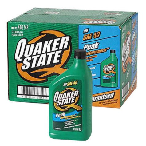 Quaker State SAE 40 Motor Oil - 1 Quart Bottles - 12 pack