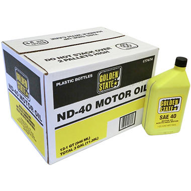 Golden State SAE 40 Motor Oil - 1 Quart Bottles - 12 pack