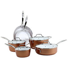 Oneida 10-Piece Copper Finish Ceramic Cookware Set