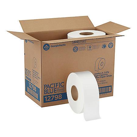 Pacific Blue Basic Jumbo Jr. Toilet Paper, 1000 Feet/Roll, 8 Rolls/Case (12798)