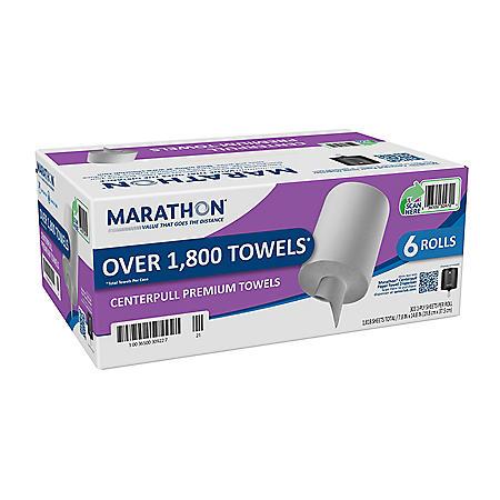 Marathon® Premium Centerpull Paper Towels, White, 6 Rolls/Case