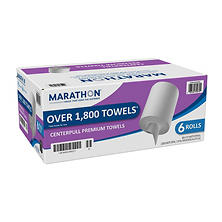 Marathon Center Pull Premium Paper Towel Rolls, 1,800 Sheets (6 Rolls)