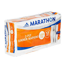 "Marathon 2-Ply Dinner Napkin, 17"" x 15"", White, (1200/Pack, 12 Packs/Carton)"