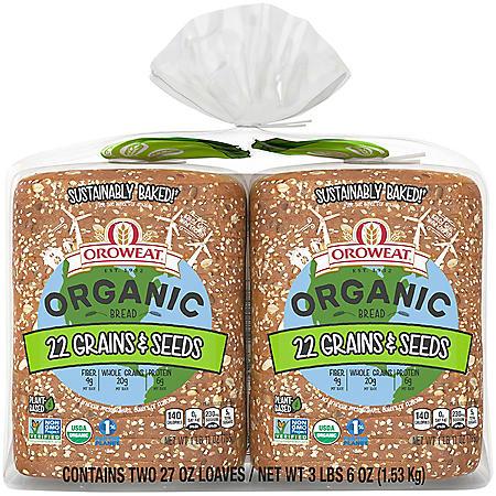 Oroweat Organic Non-GMO 22 Grains & Seeds Bread (27 oz./ 2 pk.)